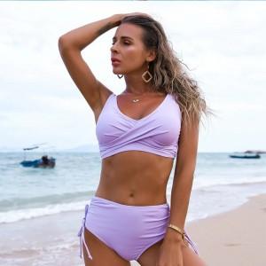 Solid Sexy Bikini 2021 Summer Swimsuit Women 2 Pieces High Waist Bikini Push Up Swimwear Tankini Swimsuits Bathing Suit Women
