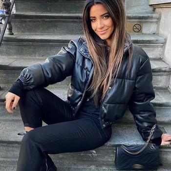 CP Winter Thick Warm Short Parkas Women Fashion Black PU Leather Coats Women Elegant Zipper Cotton Jackets Female Ladies