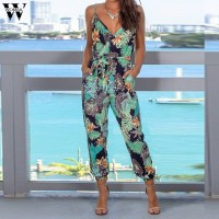 Womail bodysuit Women Summer Sleeveless Print V-Neck Long Jumpsuit Wide Leg Jumpsuit fashion Holiday Vacation Casual 2019 M530