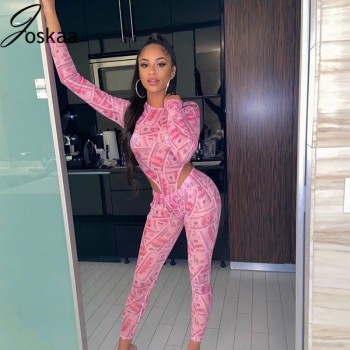 Joskaa Mesh Print Night Club Long sleeve Bodysuit & Pants Party 2 Pieces set Party Fashion outwear Summer 2020