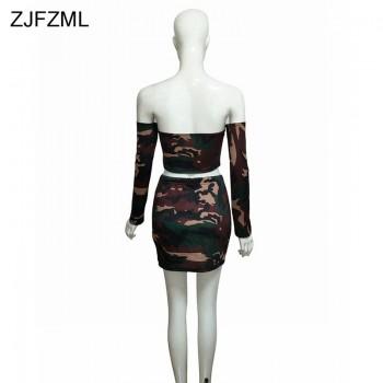 ZJFZML Camouflage Print Sexy 2 Piece Set Women Off Shoulder Slash Neck Sheath Dress Autumn Deep V-Neck Full Sleeve Mini Dress