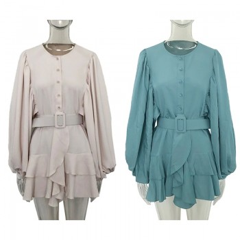 CP Autumn Collected Waisted Dresses Women Fashion Long Sleeve Mini Dress Women Elegant O Neck Ruffles Dresses Female Ladies