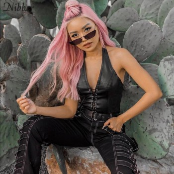 Nibber Sexy Punk Y2K Black Leather Crop Top Womens Hollow Backless