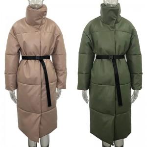 Winter Warm Leather Parkas Women Fashion Straight Loose Pockets Coats Women Elegant Long Cotton Jackets Female Ladies