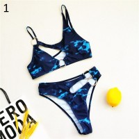 African Style Bikini Bathing Suit Sexy Cut Out Swimwear Chain Ring Swimming Suit for Women Two Piece Swimsuit Floral Biquini