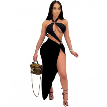 Cutubly Summer Two Piece Outfits Sets Sexy Clubwear Solid Two Piece Sets Hollow Out Sleeveless Women Skirt Set Fashion 2021