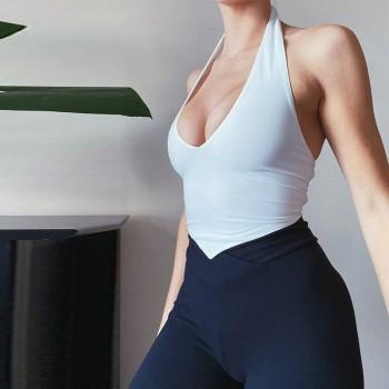 Women Summer Sexy Slim Halter Tank Top Solid Color Sleeveless Backless Cross Lace-up Inverted e Irregular Hem Vest