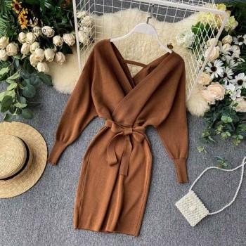 YuooMuoo Autumn Winter Women Knitted Sweater Dress 2020 New Korean Long Batwing Sleeve V Neck Elegant Dress Ladies Bandage Dress