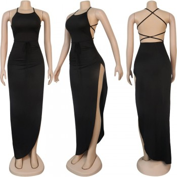 ANJAMANOR Black Assymetric Backless High Split Maxi Dresses Sexy Club Outfits for Women Vacation Beach Clothes