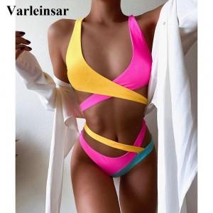 Splicing Bikini Female Swimsuit Women Swimwear Two-piece Bikini set Asymmetric Mid Waist Bather Bathing Suit Swim