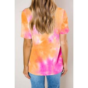 Yellow Gradient Tie Dye V Neck T-shirt Blue Orange Multi
