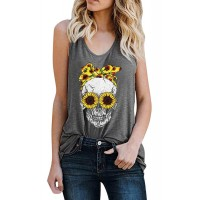 Gray Skull Print Tank Top Black