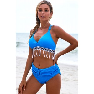 Blue Strappy Tassel Bowknot Back High Waist Bikini White Green