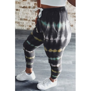 Blue Tie Dye Drawstring Waist Jogging Pants Gray