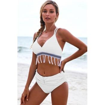 Blue Strappy Tassel Bowknot Back High Waist Bikini White Green