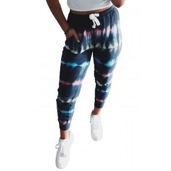 Blue Tie Dye Drawstring Waist Jogging Pants Gray