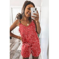 Red Dotted Satin Cami And Shorts Pajamas Set White
