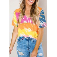 Yellow Gradient Tie Dye V Neck T-shirt Blue Orange Multi