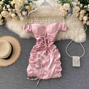 YuooMuoo Ins Fashion Sexy Mini Bandage Dress Women 2020 Summer Slim Ruched Club Dress Sheath Off Shoulder Pink White Dress