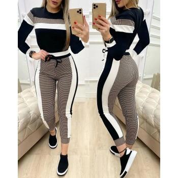 Colorblock Plaid Striped Short Sleeve Tape Top & Drawstring Pants Set Casual Basic Women Two Piece Set