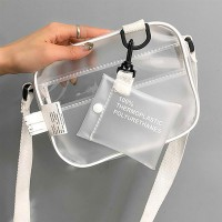 Causual PVC Transparent Clear Woman Crossbody Bags Shoulder Bag Handbag Jelly Small Phone Bags with Card Holder Wide Straps Flap