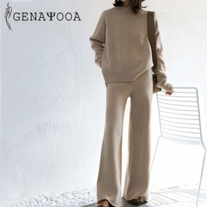Genayooa Winter Tracksuit 2 Piece Pant Suits For Women Knitted Long Sleeve Two Piece Set Top And Pants Women Suit Outwear Korean
