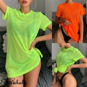 Sexy Women Sheer Mesh Bikini Cover Up Swimwear Swimsuit Bathing Suit See Through Short Sleeve T-shirt Tops Summer Beach Dress