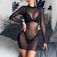 Women Mesh Sheer Bikini Cover Up Sexy See Through Swimwear Long Sleeve One Piece Beach Dress Summer Clubwear Party Bathing Suit