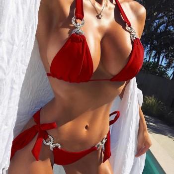2021 New Women Diamond Bikini Halter Swimsuit Bandage Swimwear Women Separate Bathing Suit Female Beach Bikini Set Low Waist