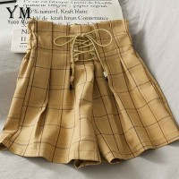 YuooMuoo Ins Fashion High Waist Bandage Shorts Women 2020 Summer Vintage Plaid Wide Leg Short Pants Loose Girl Shorts Feminino
