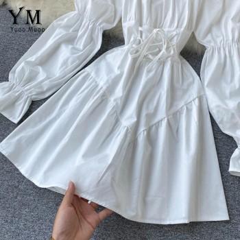 YuooMuoo Early Autumn Dress 2020 Retro Gothic Women White Black Bandage Mini Dress Sexy Off Shoulder Puff Sleeve Korean Vestidos