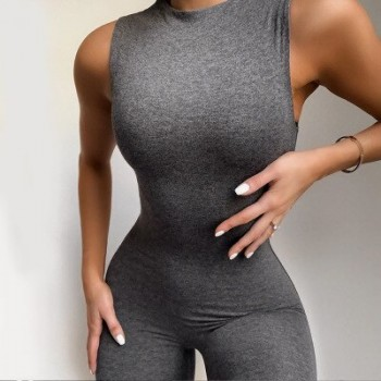 Simenual Casual Solid Bodycon Sleeveless Jumpsuits Sporty Workout Active Wear Skinny 2020 Summer Rompers Womens Jumpsuit Fashion