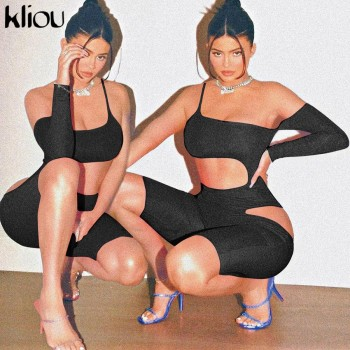 Kliou hollow out black solid playsuit one-shoulder asymmetric sleeve beach style rompers slash neck Skinny streetwear bodysuit
