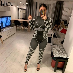 Kliou woman fashion 3D print high quality slim jumpsuit mujer 2020 elastic tracksuit fitness bodysuit casual street black outfit