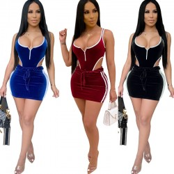 HAOYUAN Velvet Two Piece Set Women Fall Festival Clothing Rompers Bodysuit Top and Skirt Sexy Club Outfits 2 Piece Matching Sets