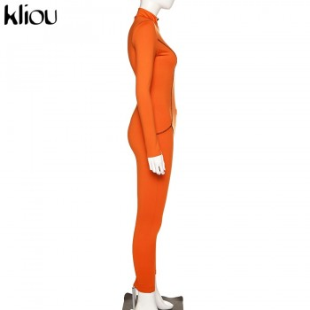 Kliou orange Sexy Bodycon fitness tracksuit Jumpsuit 2020Long Sleeve Zipper turtleneck Bodysuit Elegant street elastic bodymujer