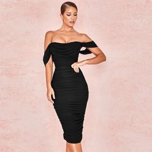 COSYGAL 2019 Strapless midi Bodycon Dress Knee Length Elegant Party Dresses Women Double Layers Red Dresses Vestidos De Festa