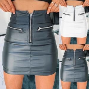 Womens PU Leather Zipper Skirt High Waist Pencil Evening Party Club Wear Bodycon Short Mini Skirt