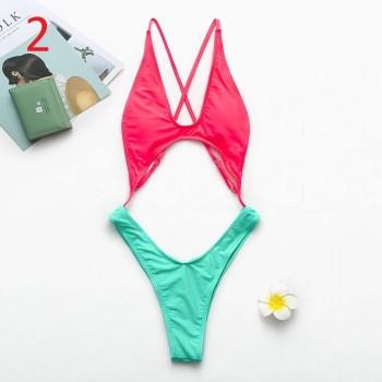 Halter swimwear women monokini Summer bathing suit Sexy Push up bikini 2019 new V-neck bodysuit leopard print swimsuit one piece