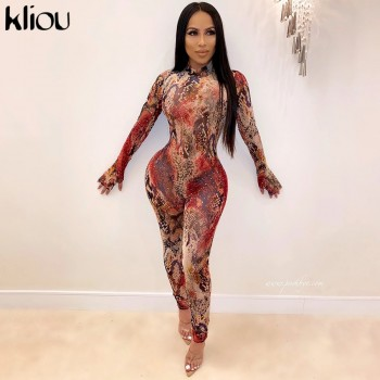 Kliou women sexy mesh fabric jumpsuit skinny hollow out rompers 2020 spring female sexy party club full sleeve long bodysuits