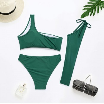 3 Piece Bikini Set One Shoulder Swimsuit for Pool Women Swimwear 2021 Summer High Waist Bathers Separate Beachwear for Bath