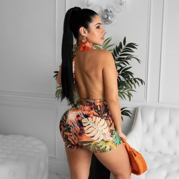 Backless Halter Swimsuit Two Piece Padded Swimwear with Boyleg String Wrap Sexy Swimming Suit for Women Fahsion Beachwear
