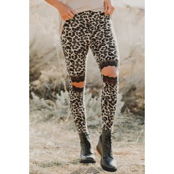 Floral Hollow Out Brown Leopard Printed Skinny Leggings Camo