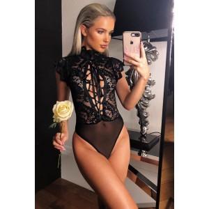 Black Lace Versatile Laceup Bodysuit