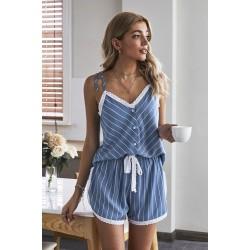 Blue Stripes Frill Trim Cami Pajamas Set