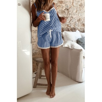 Blue Stripes Frill Trim Cami Pajamas Set