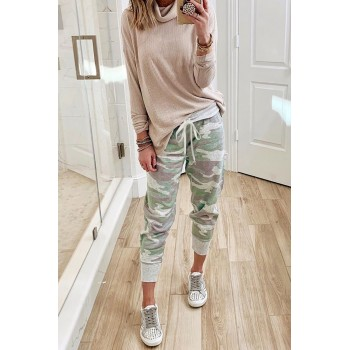 Camo Print Knit Sport Pants Orange