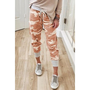 Camo Print Knit Sport Pants Orange