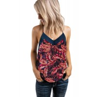 Green V Neck Strappy Tropical Print Tank Top Red