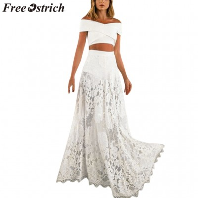 OSTRICH Dress Women Sexy Mesh Perspective Two-piece Set A-Line White Casual Dignified Elegant Graceful Long Dress Summer